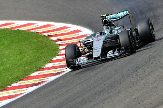 Mercedes AMG Petronas F1 Team's German driver Nico Rosberg drives at the Spa-Francorchamps circuit in Spa on August 23, 2015, during the Belgian Formula One Grand Prix