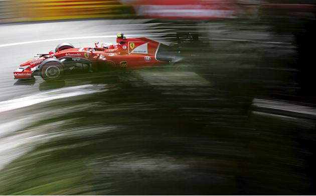 Ferrari Formula One driver Raikkonen of Finland drives during the third free practice session at the Monaco F1 Grand Prix