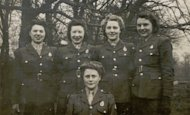 Winifred Sirois (2nd from the left) in Garrett's Hay, near Woodhouse Eaves, England, 1943. Photo courtesy of Historica-Dominion Institute.