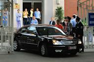 A US Embassy vehicle leaves after visiting blind rights activist Chen Guangcheng at the Chaoyang Hospital in Beijing. Chen appealed to US President Barack Obama to help get him and his family out of China, saying he feared for his life just hours after leaving the US embassy in Beijing