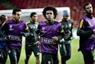 Shaktar Donetsk players train at Parken Stadium in Copenhagen on November 19, the day before their Champions League match against Nordsjaelland. Shakhtar are likely to come away with three points when they play minnows Nordsjaelland on Tuesday