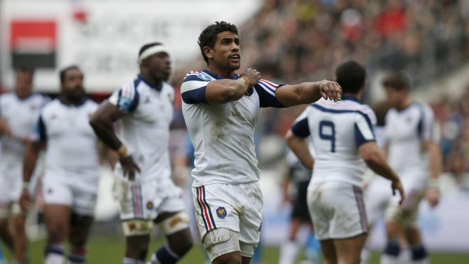 France's Wesley Fofana reacts during his Six Nations rugby union match against Italy at the Stade de France in Saint-Denis