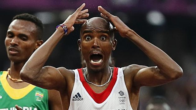 Britain's Mo Farah reacts as he wins the men's 5000m final (Reuters)