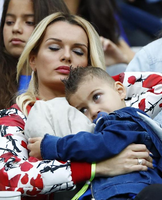 France's Dimitri Payet's wife Ludivine Payet in the stands