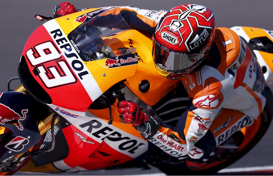 Marquez of Spain rides his motorcycle during the qualifying session at Argentina's MotoGP Grand Prix in Termas de Rio Hondo