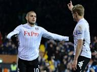 Fulham's Mladen Petric (L) and Damien Duff during a Premier League match on November 18. Fulham will attempt to claim a first win at Stamford Bridge in 33 years on the back of successive defeats and a run of five games without a win