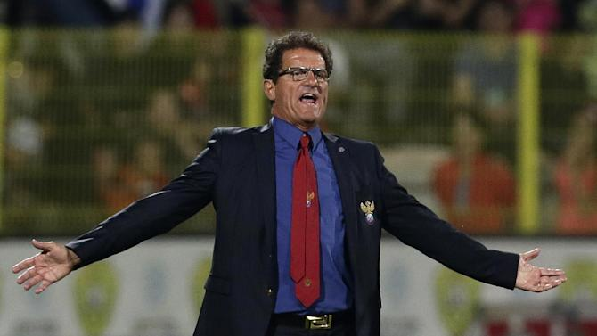 Russia's national soccer head coach Fabio Capello reacts during the international friendly soccer match between Russia and South Korea, in Dubai, United Arab Emirates, Tuesday, Nov. 19, 2013