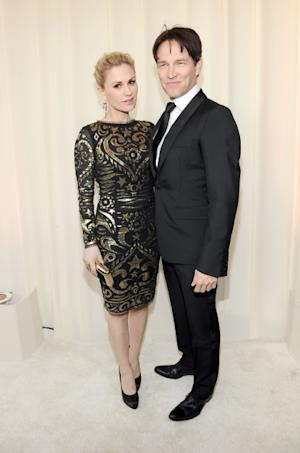 Anna Paquin and Stephen Moyer arrive at the 20th Annual Elton John AIDS Foundation Academy Awards Viewing Party at The City of West Hollywood Park, West Hollywood, on February 26, 2012 -- Getty Images