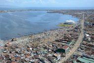 An aerial photo shows an area devastated by Super Typhoon Haiyan in Tacloban in the province of Leyte on November 16, 2013