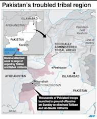Map of Pakistan's northwest tribal region, where thousands of troops launched an offensive June 15, 2014 to eliminate militants in North Waziristan