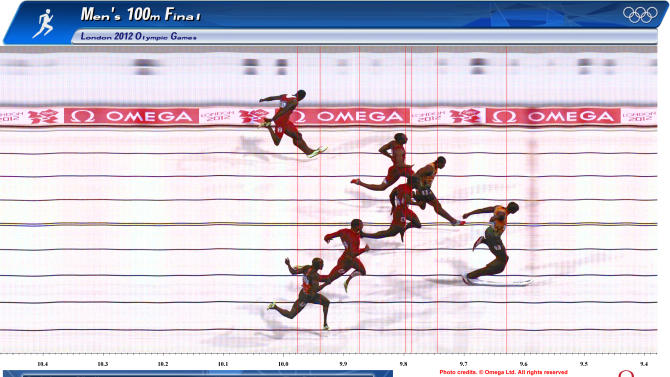 Jamaica's Usain Bolt (R) is seen winning the men's 100m final during the London 2012 Olympic Games at the Olympic Stadium in this handout photo finish