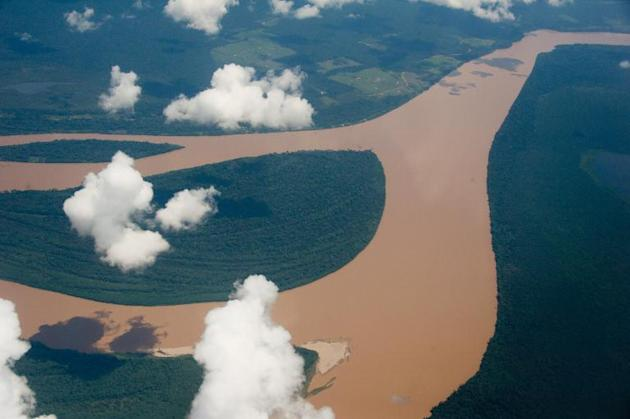 The World Cup also a test bed for climate change experts say, pictured is an aerial view of the Amazon river, Brazil on December 12, 2013