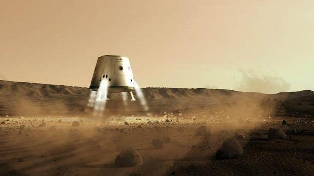 Handout photo obtained on June 21, 2012 from Mars One shows an artist's impression of a capsule landing on Mars. NASA and private sector experts now agree that a man or woman could be sent on a mission to Mars over the next 20 years, despite huge challenges