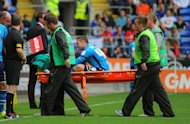 Ross McCormack is stretchered off at the Cardiff City Stadium