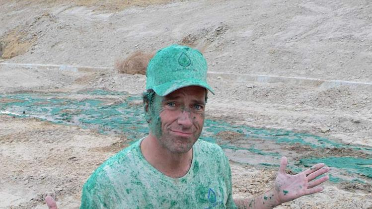 Host Mike Rowe in the Hydro Seeder episode of Dirty Jobs.