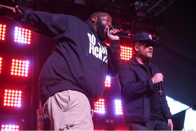 Killer Mike, left, and El-P of Run The Jewels perform at the 2015 Coachella Music and Arts Festival on Saturday, April 18, 2015, in Indio, Calif. (Photo by Rich Fury/Invision/AP)