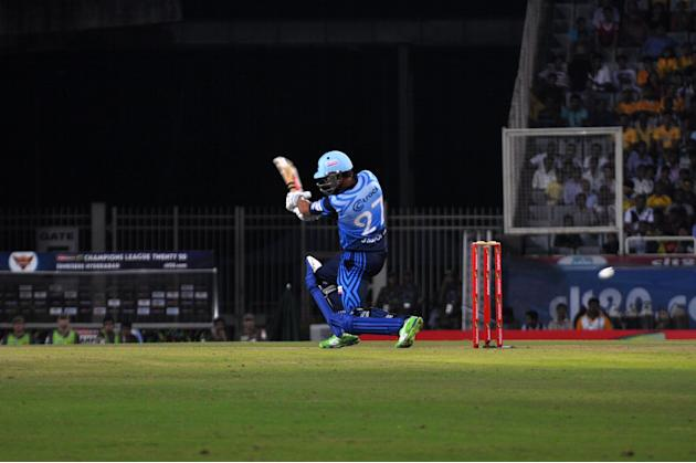 Player of Titans in action during T-20 match against Sunrisers Hyderabad during Karbonn Smart Champions League Twenty-20 Match at Jharkhand State Cricket Association (JSCA) International Cricket Stadi
