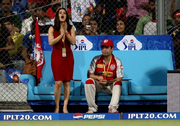 Preity Zinta during the match between Mumbai Indians and Kings XI Punjab at Wankhede Stadium, Mumbai on April 29, 2013. (Photo: IANS)