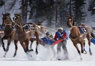 Champagne and frozen lake horse races regale Swiss resort