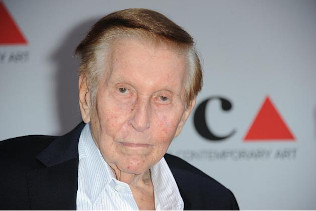 FILE - In this April 20, 2013 file photo, Sumner Redstone arrives at the 2013 MOCA Gala celebrating the opening of the Urs Fischer exhibition at MOCA, in Los Angeles. Attorneys for Redstone and the me