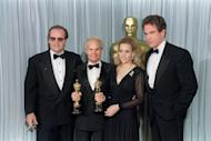 """Producers Richard Zanuck (2nd L) and his wife Lili Zanuck (2nd R) flanked by US actors Jack Nicholson (L) and Warren Beatty (R), after they received an Oscar for best picture for the film """"Driving Miss Daisy"""" at the 62nd Annual Academy Awards in Hollywood in 1990. Richard Zanuck, famous for films including """"Jaws,"""" """"Driving Miss Daisy"""" and a string of Tim Burton films, died aged 77, media reported"""