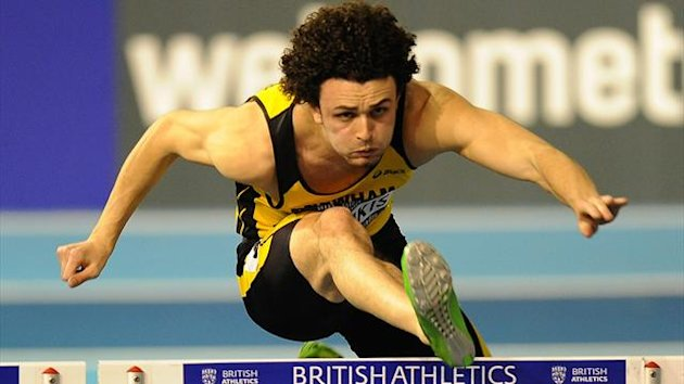Gianni Frankis in action during the Men's 60m hurdles heats