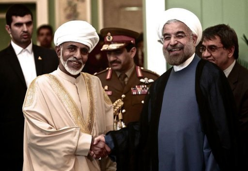 Iranian President Hassan Rowhani (R) and Oman's Sultan Qaboos bin Said (L) at Tehran's Saadabad Palace on August 25, 2013. Sultan Qaboos, the only Gulf leader to maintain good relations with Tehran, arrived in Iran Sunday for a visit focussed on economic and diplomatic issues, Iranian authorities said