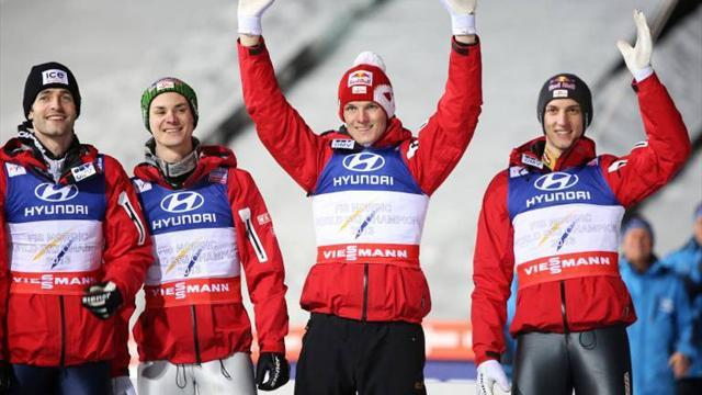 Ski Jumping - Austria seal another world title in team large hill