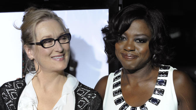 "FILE - In this Nov. 18, 2008 photo, Meryl Streep, left, and Viola Davis, cast members in ""Doubt,"" pose together at the premiere of the film at the Academy of Motion Picture Arts and Sciences in Beverly Hills, Calif.   Streep has donated $10,000 to a Rhode Island scholarship fund in honor of fellow Oscar nominee Viola Davis. Davis established the fund with her sister in 1988.   (AP Photo/Chris Pizzello)"