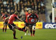Jonny Wilkinson of Toulon kicks a penalty shot during the European Challenge Cup at the Twickenham Stoop. Biarritz won 21-18