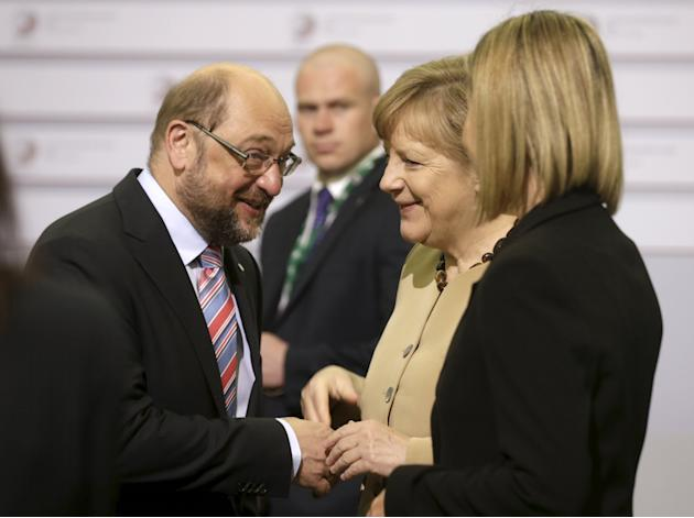 European Union foreign policy chief Mogherini and Germany's Chancellor Merkel listen to European Parliament President Schulz before the Eastern Partnership Summit session in Riga