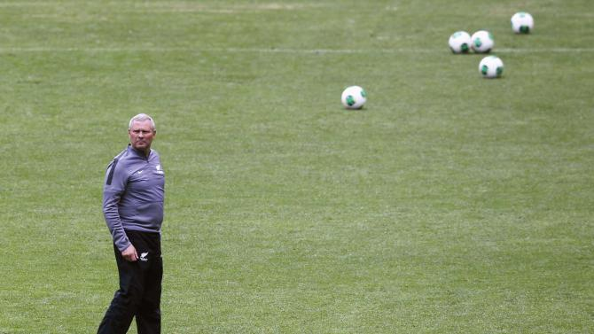 New Zealand's national soccer coach Ricki Herbert looks on during a training session at Azteca stadium in Mexico City