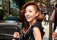 2NE1 member Sandara 'Dara' Park leaves a Manhattan hotel on August 17, 2012 in New York City. (Photo by Ray Tamarra/Getty Images)