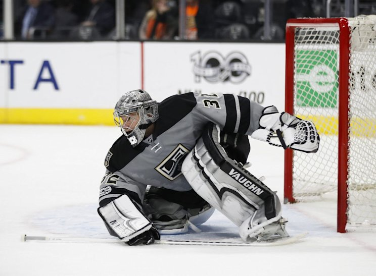 Los Angeles Kings goalie Jonathan Quick guards his net during an NHL hockey game against the Anaheim Ducks Saturday, Feb. 25, 2017. (AP Photo/Jae C. Hong)