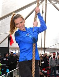 Brooklyn Decker tackles The Reebok Spartan Race Times Square Challenge in Times Square on January 17, 2013 in New York City -- WireImage
