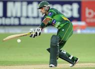 Pakistani captain Mohammad Hafeez plays a shot during the second Twenty20 international cricket match between Pakistan and Australia at the Dubai international cricket stadium. Pakistan beat Australia in a tense Super over finish to the second Twenty20 international at Dubai Stadium, taking an unassailable 2-0 lead in the three-match series
