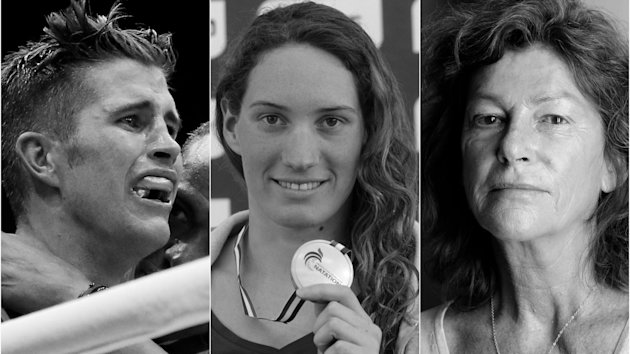 Alexis Vastine, Camille Muffat and Florence Arthaud (left to right)
