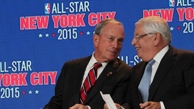 New York City mayor Michael Bloomberg, left, and NBA commissioner David Stern share a moment during a press conference Wednesday Sept. 25, 2013, in New York, announcing the selection of the city to host the NBA All-Star game in 2015. The 64th NBA All-Star game is scheduled to be played at New York's Madison Square Garden Sunday Feb. 15, 2015 with Friday and Saturday night events being held at the Barclays Center in the Brooklyn borough of New York
