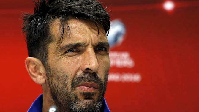 Italy's Buffon attends a news conference in Baku