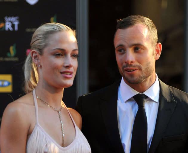 Reeva Steenkamp and Oscar Pistorius. Steenkamp was fatally shot at Pistorius's home near Pretoria, South Africa (Rex Features)