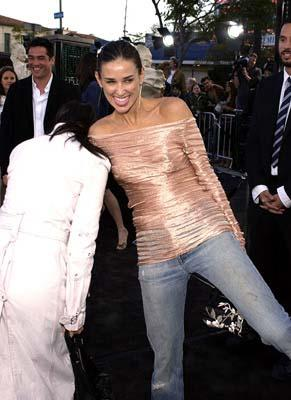Premiere: Lucy Liu and Demi Moore giggle while G.I. Jane may just be releasing something... shall we say 'unladylike' at the Hollywood premiere of Warner Brothers' The Matrix: Reloaded - 5/7/2003