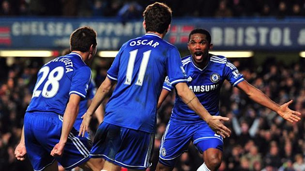 Samuel Eto'o clebrates scoring for Chelsea against Liverpool (AFP)