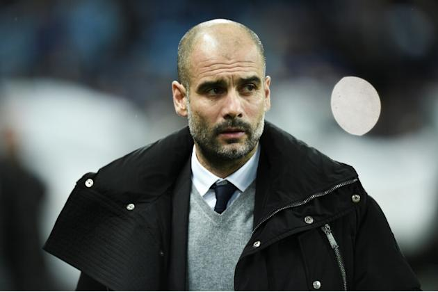 Manchester City's manager Pep Guardiola arrives for the Champions League football match against Monaco February 21, 2017