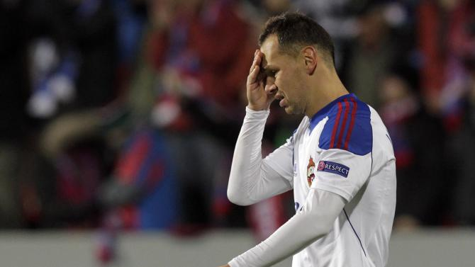 CSKA Moscow's Sergei Ignashevich reacts after their Champions League soccer match against Viktoria Plzen in Plzen