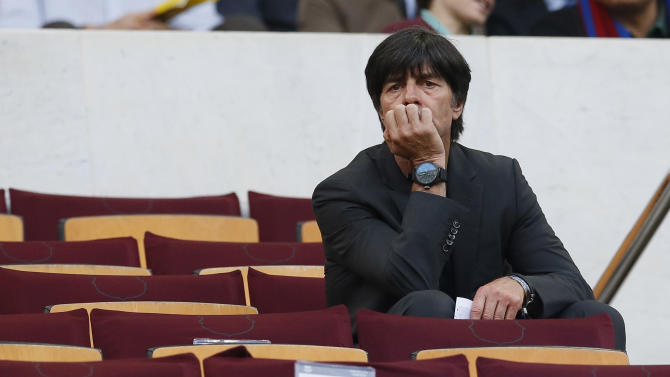 Football: Germany coach Joachim Low in the stands before the game