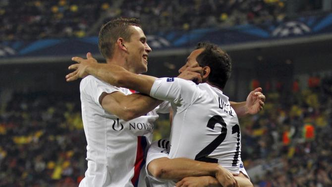 Diaz of Basel celebrates his goal against Steaua Bucharest with team mates during their Champions League soccer match at the National Arena in Bucharest