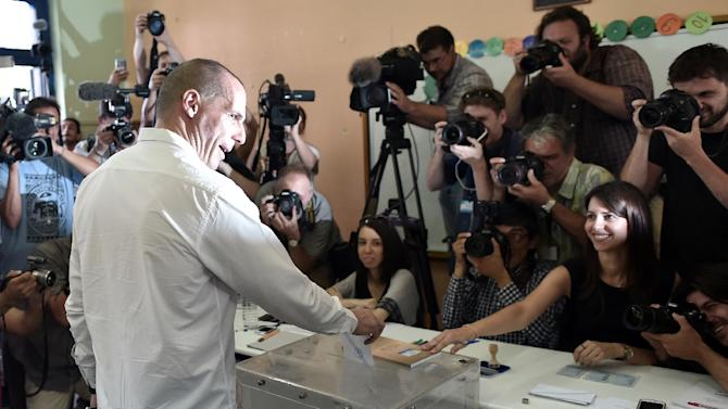 Finance Minister Yanis Varoufakis casts his ballot during the Greek referendum in Athens, on July 5, 2015