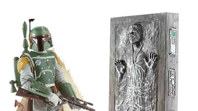 """STAR WARS....THE..BLACK SERIES 6-INCH BOBA FETT.....ACTION FIGURE WITH HAN SOLO.....IN CARBONITE..ACCESSORY.(Approximate Retail Price: $44.99; Ages 4 & up; Available through..HYPERLINK """"https://ec.yimg.com/ec?url=http%3a%2f%2fhasbrotoyshop.com%2f%26quot%3bHasbroToyShop.com%2c&t=1425224325&sig=NyEkEXsUgb0kRTPHg_BPtQ--~B Booth #3329 at Comic-Con International in San Diego).In 2013, Hasbro takes collectible..STAR WARS..action figures to the next level with the introduction of THE BLACK SERIES action figure line! For the first time ever, Hasbro is introducing a 6-inch scale of the greatest characters from the..STAR WARS..universe, and fans will have their first opportunity to..start their..BLACK SERIES 6-inch figure..collection..at San Diego Comic-Con with the BOBA FETT action figure which comes with HAN SOLO IN CARBONITE accessory. Following the convention, a limited number will be available on HasbroToyShop.com."""