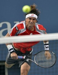 David Ferrer of Spain plays against Novak Djokovic of Serbia during their 2012 US Open men's semi-final match in New York. The match was suspended until Sunday with Ferrer ahead 5-2