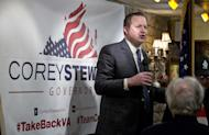 """FILE - In this Monday, Jan. 23, 2017 file photo, Republican candidate for governor of Virginia, Corey Stewart, speaks at a campaign kickoff rally in a restaurant in Occoquan, Va. Stewart, a tough-talking former Donald Trump campaign chairman who says the president's victory has freed candidates to """"simply be yourself."""" (AP Photo/Steve Helber, File)"""